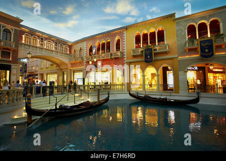 Gondolas and Grand Canal Shoppes, inside The Venetian Resort Hotel Casino, Las Vegas, Nevada, USA - Stock Photo