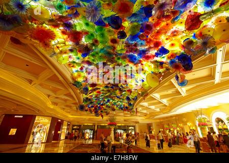 Dale Chihuly's Fiori di Como (2000 hand blown glass flowers), lobby, Bellagio, Las Vegas, Nevada, USA - Stock Photo