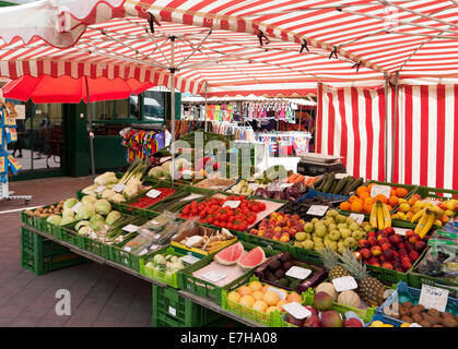 Fruit and vegetables stall at Naschmarkt, the most famous market in Vienna, Austria - Stock Photo
