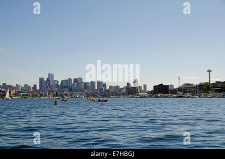 View of skyscrapers from Lake Union, Seattle - Stock Photo