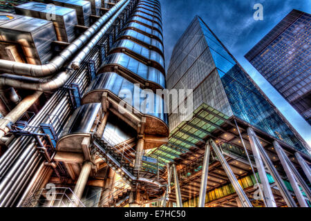 The Lloyd's Building and The Leadenhall Building, London, England - Stock Photo