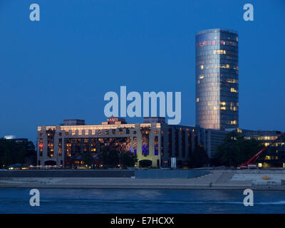 Hyatt Hotel and the Cologne Triangle tower on the Rhine riverbank in Cologne, NRW, Germany - Stock Photo