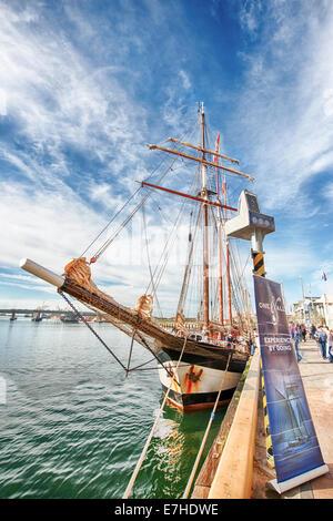 Dutch tall ship Oosterschelde docked in Port Adelaide - Stock Photo