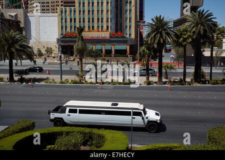 Hummer limousine on Las Vegas Boulevard (The Strip), Las Vegas, Nevada, USA - Stock Photo