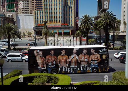 Bus advertising Chipendales, Las Vegas Boulevard (The Strip), Las Vegas, Nevada, USA - Stock Photo