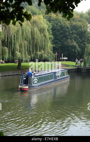 Canal Boat on the River Avon at Stratford - Stock Photo