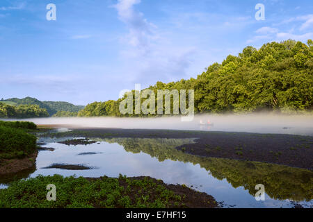 Two people row in a small boat down the Little Tennessee river at dawn shrouded in mist and trees near Louisville, - Stock Photo