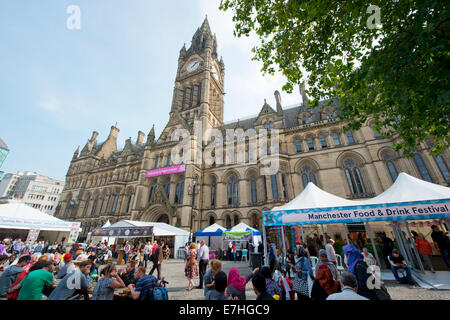 Manchester, UK. 18th September, 2014. Manchester Food and Drink Festival opens in the city's Albert Square. The - Stock Photo