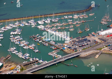 Yachts, Marina, Old Gaffers Festival, Yarmouth, Harbour, Aerial, UK, England, Isle of Wight, - Stock Photo