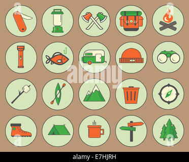 camping icons - Stock Photo