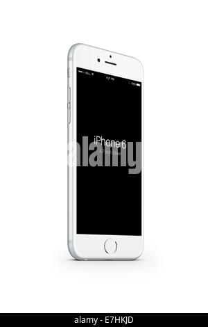 Digitally generated image of cell phone, iphone 6 silver. - Stock Photo
