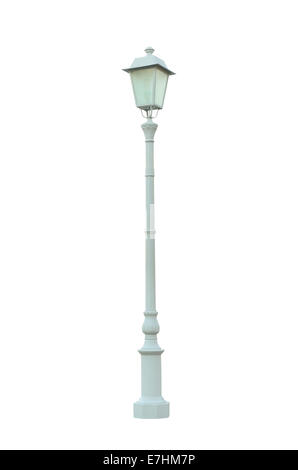 Vintage Lamp Post Lamppost Street Road Light Pole isolated On White Background - Stock Photo