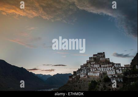 Key, Ki, Kee, Kye, Monastery, India, Spiti, Himachal Pradesh, Mountains, Landscape, Gompa - Stock Photo