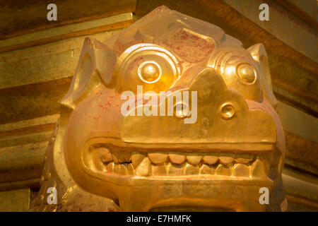 Myanmar (Burma), Mandalay Division, Nyaung U, Shwezigon Pagoda, Golden Chinthe - Stock Photo