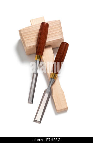 Chisel set with Mallet on white - Stock Photo