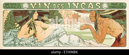 Vin des Incas 1897 poster advertisement for Coca fortified Wine by Alphonse Mucha (1860-1939), Czech graphic designer - Stock Photo