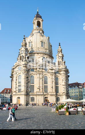 DRESDEN, GERMANY - SEPTEMBER 4: Tourists at the Frauenkirche in Dresden, Germany on September 4, 2014. - Stock Photo