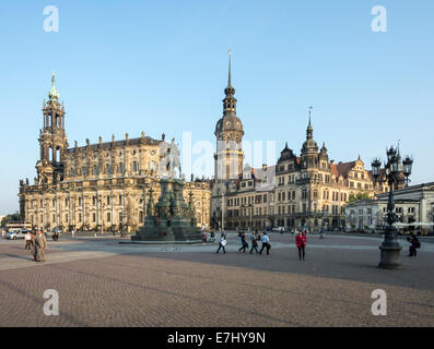 DRESDEN, GERMANY - SEPTEMBER 4: Tourists at the Theaterplatz in Dresden, Germany on September 4, 2014. - Stock Photo