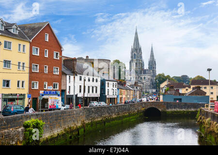Cork, Ireland. Saint Fin Barre's Cathedral and the River Lee, Cork City, County Cork, Republic of Ireland - Stock Photo