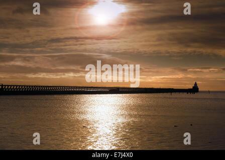 Blyth harbour at sunrise, Northumberland - Stock Photo