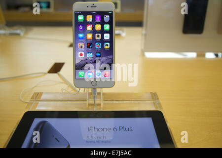 Sydney, Australia. 19th Sep, 2014. The new iPhone 6 Plus on the release day at the flagship Apple store on George - Stock Photo