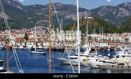 Beautiful white sailing vessels docked in Marmaris harbour, Turkey. - Stock Photo