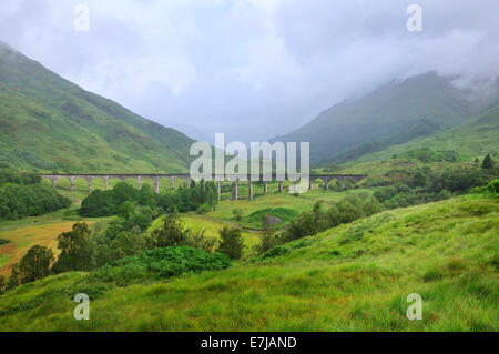 Glenfinnan Viaduct, made famous in the Harry Potter films, Ross, Skye and Lochaber, Scottish Highlands, Scotland, - Stock Photo