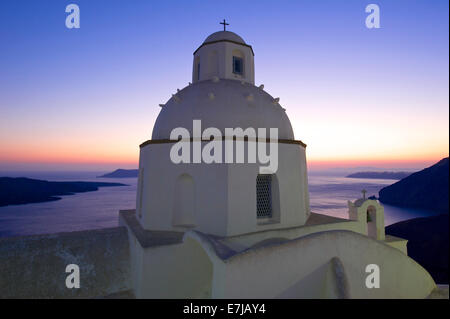 Agios Minas Church at sunset, Thira, Santorini, Cyclades, Greece - Stock Photo