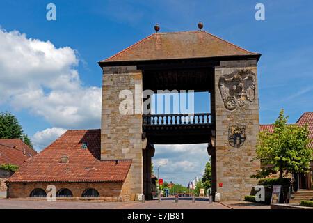 Europe, Germany, Rhineland-Palatinate, Schweigen-Rechtenbach, wine route, German wine gate, architecture, trees, - Stock Photo