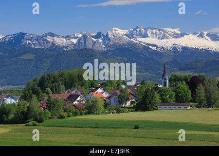 Alps, Alpine panorama, mountain, mountains, mountain panorama, massif, Bubikon, village, Glarus Alps, Glärnisch, church, church