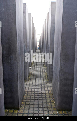 Germany, Europe, Berlin, monument, Jew, steles, stele monument, Holocaust, Holocaust memorial, memorial - Stock Photo