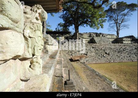 Central America, Americas, ancient, archaeology, architecture, building, built, carved, copan, culture, patio, exterior, - Stock Photo