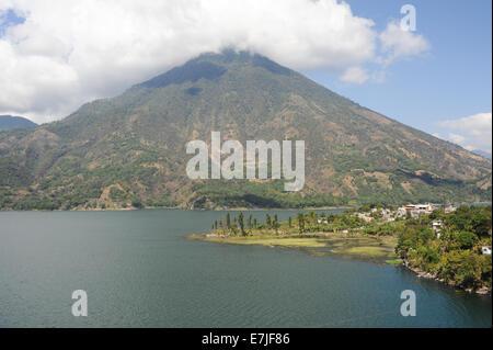 Guatemala, Central America, San Pedro, Atitlan, clouds, lake, nature, Santiago, scenic, trees, volcano - Stock Photo
