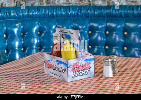 USA, United States, America, Arizona, Oatman, Route 66, bar, restaurant, ketchup, americana, dining, interior - Stock Photo