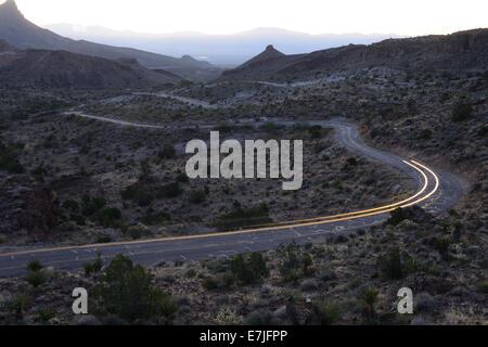 USA, United States, America, Arizona, Route 66, Oatman, Sitgrave Pass, desert, road, traffic, lights, - Stock Photo