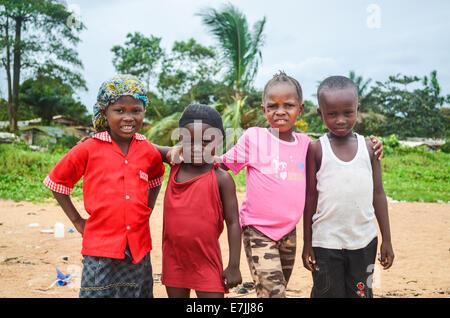 African children posing in Liberia - Stock Photo