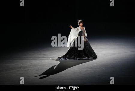 Incheon, South Korea. 19th Sep, 2014. South Korean soprano Sumi Jo performs during the opening ceremony of the 17th - Stock Photo