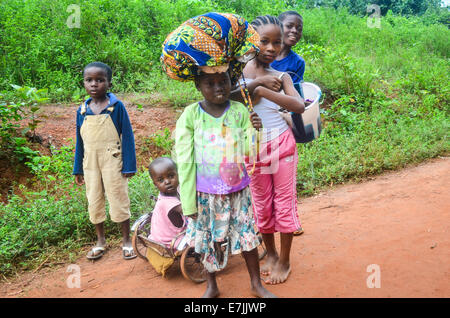 African children posing in Nimba County, Liberia, close to the border with Ivory Coast - Stock Photo