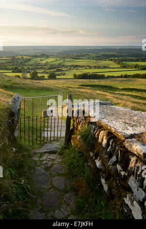 A stone pathway and metal gate leading to open countryside near Brentor, Dartmoor, Devon. - Stock Photo