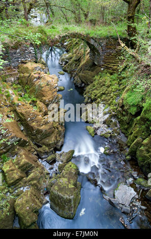 Roman Packhorse Bridge across the River Machno, Penmachno, North Wales, UK - Stock Photo