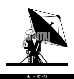Silhouette satellite dish vector