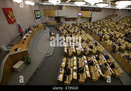 ITAR-TASS: MOSCOW, RUSSIA. SEPTEMBER 19, 2014. A State Duma plenary meeting. (Photo ITAR-TASS/ Stanislav Krasilnikov) - Stock Photo