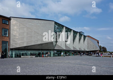 Side view of Kulturvaerftet og Bibliotek (The Culture Yard and Library) on the waterfront in Elsinore Denmark - Stock Photo