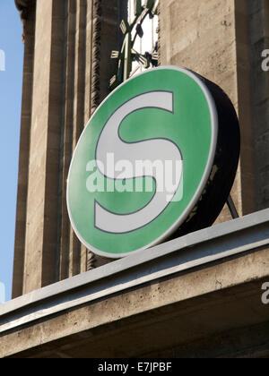 German S-Bahn logo on station Messe/Deutz in Cologne, NRW, Germany - Stock Photo