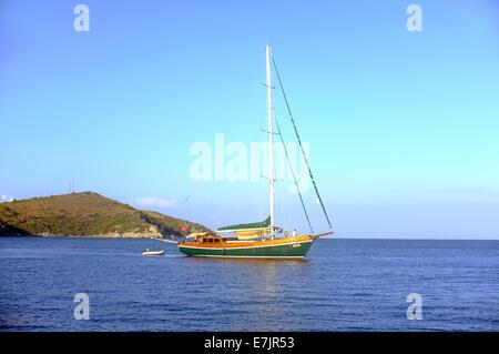 Sailing boat moving - Stock Photo