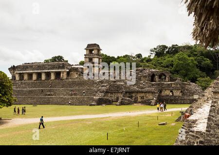 El Palacio, Palenque Ruins, Palenque, Chiapas, Mexico - Stock Photo