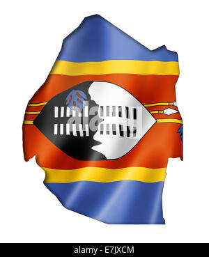 Swaziland flag map, three dimensional render, isolated on white - Stock Photo
