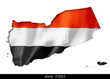 Yemen flag map, three dimensional render, isolated on white - Stock Photo