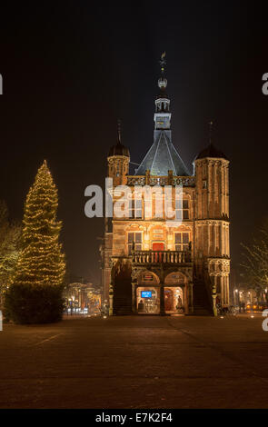 Illuminated market place in the city of Deventer in the center of the Netherlands because of a special Charles Dickens - Stock Photo
