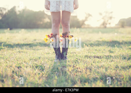 Creative bouquet in boots - Stock Photo